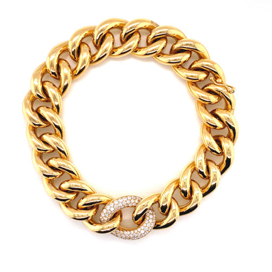18K Yellow Gold Diamond Link & Large Curb Link Bracelet