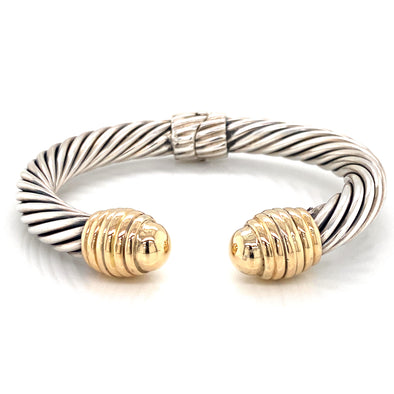 Sterling Silver and 14K Yellow Gold Thick Cable Bangle