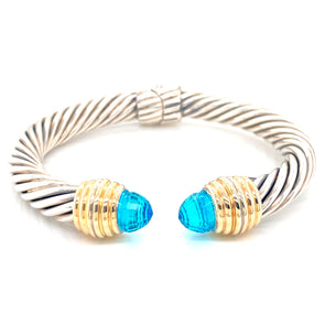 Sterling Silver and 14K Yellow Gold Blue Quartz Thick Cable Bangle