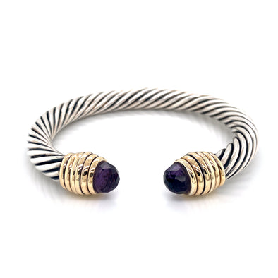 Sterling Silver and 14K Yellow Gold Amethyst Thick Cable Bangle