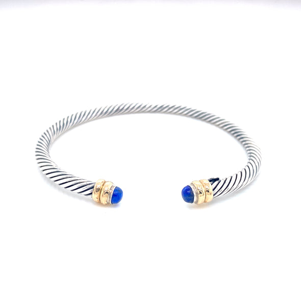Sterling Silver & 14K Yellow Gold + Lapis Thin Cable Bracelet