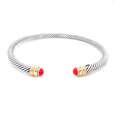 Sterling Silver & 14K Yellow Gold + Recon Coral Thin Cable Bracelet