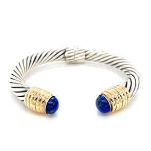 Sterling Silver & 14K Yellow Gold Lapis Cable Open Cuff Bracelet
