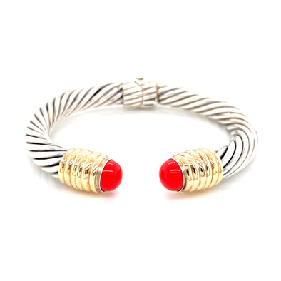 Sterling Silver & 14K Yellow Gold Sim Coral Cable Open Cuff Bracelet