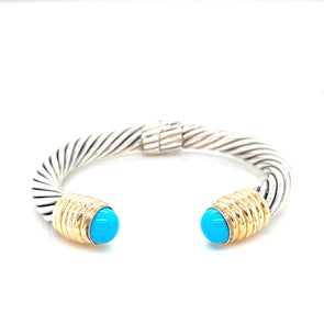Sterling Silver & 14K Yellow Gold Turquoise Cable Open Cuff Bracelet