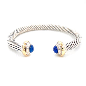 Sterling Silver & 14K Yellow Oval Lapis Cable Open Cuff Bracelet