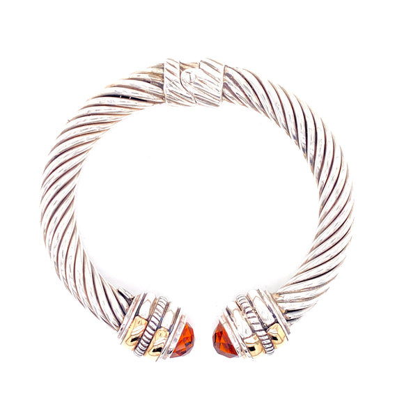 Sterling Silver & 14K Citrine Faceted Caps Cable Bangle