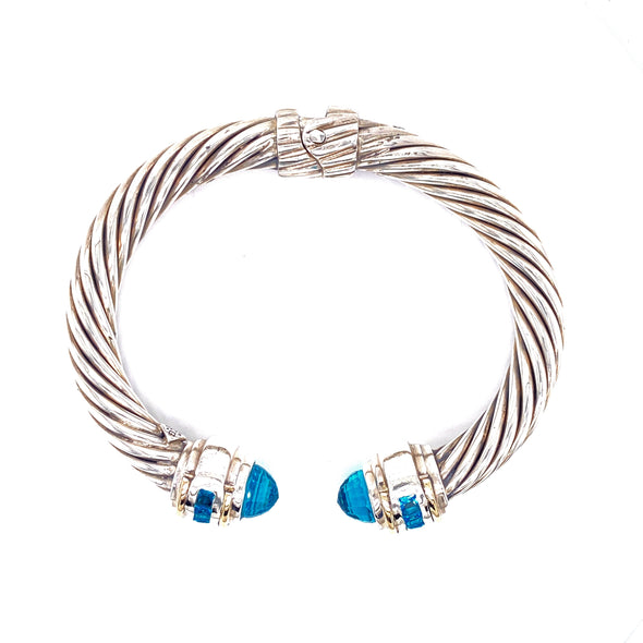Sterling Silver & 14K Yellow Gold Blue Quartz Cable Bangle
