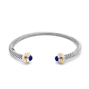 Sterling Silver & 14K Yellow Gold Lapis Cuff Bracelet