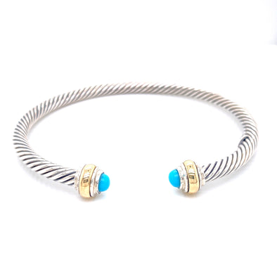 Sterling Silver & 14K Yellow Gold Turquoise Cuff Bracelet