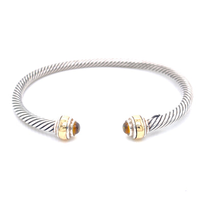 Sterling Silver & 14K Yellow Gold Citrine Cuff Bracelet