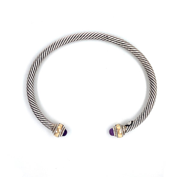 Sterling Silver + 14K Yellow Gold Cable Amethyst Bangle