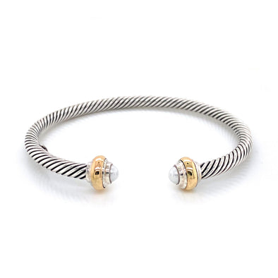 Sterling Silver + 14K Yellow Gold Cable Pearl Bangle