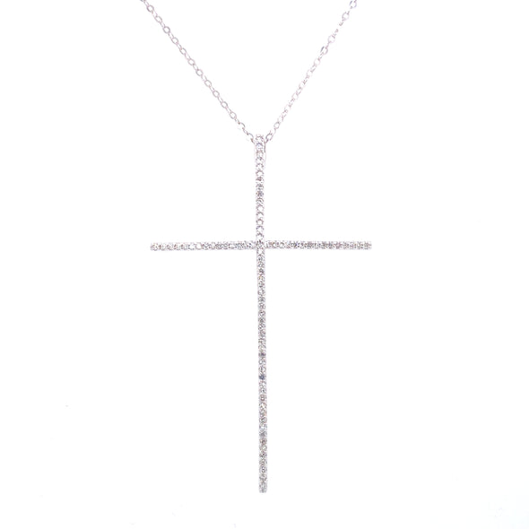 14K White Gold Extra Large Diamond Cross Necklace