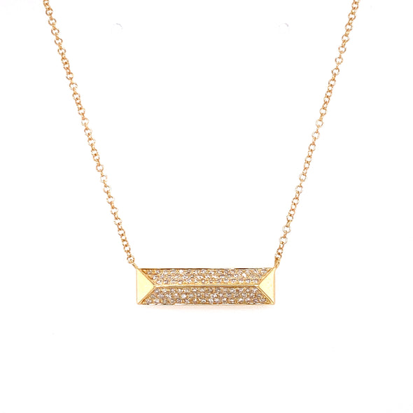 14K Yellow Gold Diamond Rectangle Pyramid Necklace