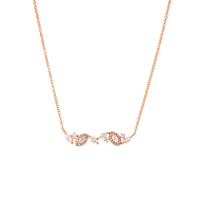 14K Rose Gold Round & Marquise Diamond Necklace