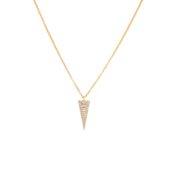 14K Yellow Gold Diamond Mini Triangle Necklace