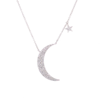 14K White Gold Diamond Moon & Star Necklace