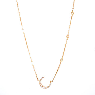 14K Yellow Gold Diamond Crescent Moon + Diamond Bezel Necklace