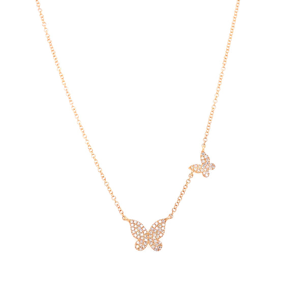 14K Yellow Gold Diamond Double Butterfly Necklace