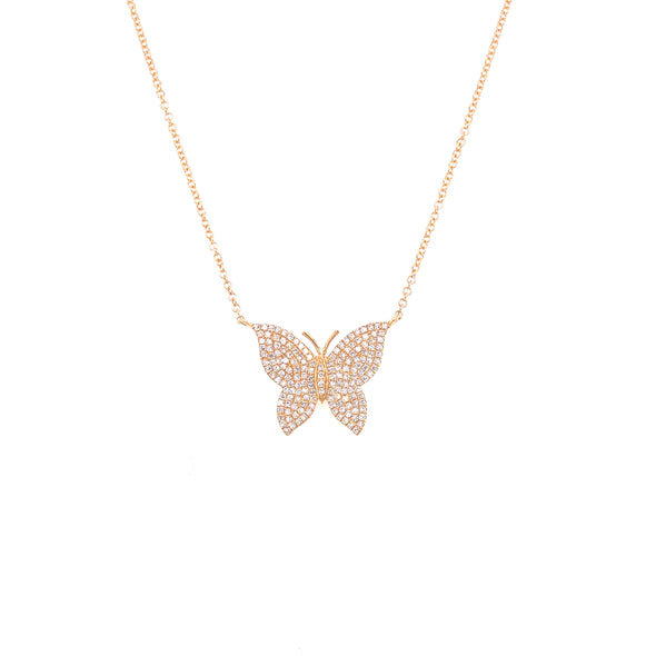 14K Yellow Gold Pave Diamond Butterfly Necklace