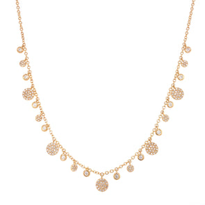 14K Yellow Gold Diamond Multi Disc Dangle Necklace