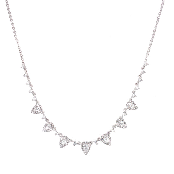 14K White Gold Round & Pear Diamond Necklace