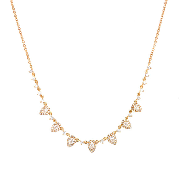14K Yellow Gold Round & Pear Diamond Necklace