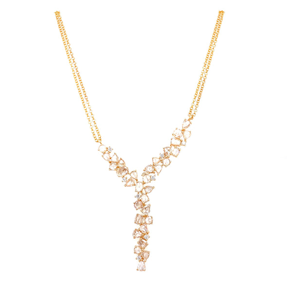 14K Yellow Gold Diamond Rosecut  V Form Necklace