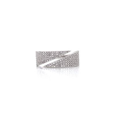 14K White Gold Diamond Flat Pave Bypass Ring