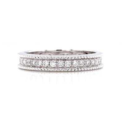 14K White Gold 0.62ct Diamond Milgrain Eternity Band