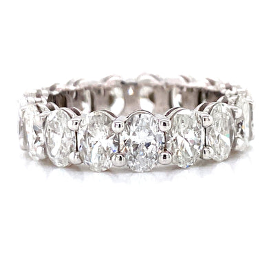 14K White Gold Oval Diamond Eternity Band