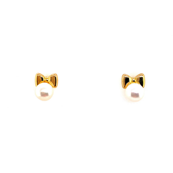 18K Yellow Gold Pearl Stud + Bow Earrings
