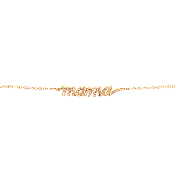 "14K Yellow Gold Diamond ""Mama"" Script Bracelet"