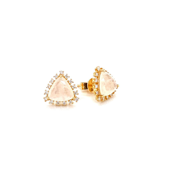 14K Yellow Gold Diamond and Trillion Moonstone Earrings