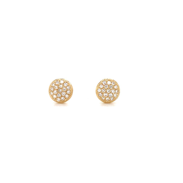 14K Yellow Gold Small Puffed Miligrain Diamond Disc Earrings