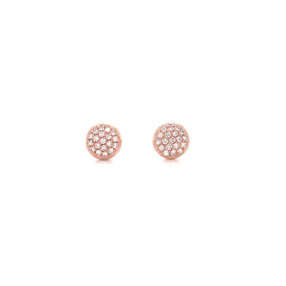 14K Rose Gold Small Puffed Miligrain Diamond Disc Earrings