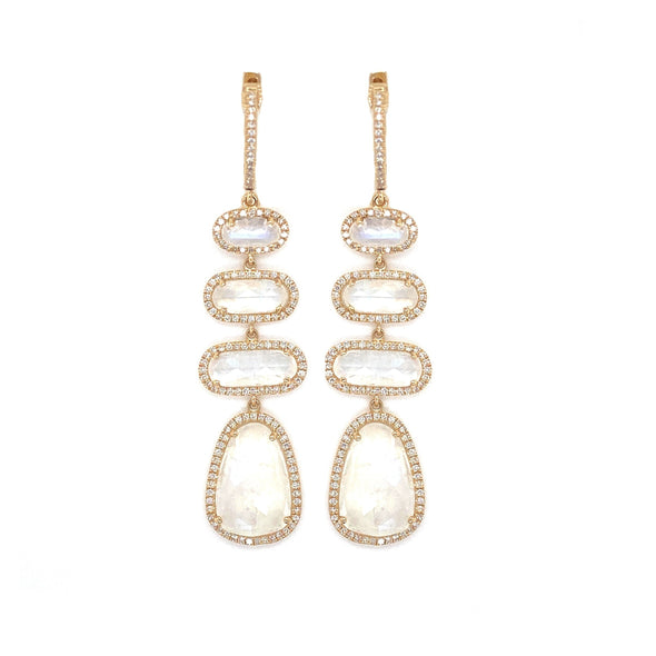 14K Yellow Gold Diamond Moonstone Drop Earrings