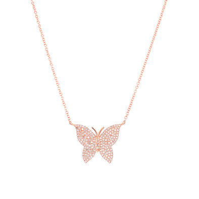 14K Rose Gold Diamond Large Butterfly Necklace