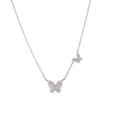 14K White Gold Diamond Double Butterfly Necklace