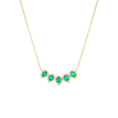 14K Yellow Gold Diamond Pear Emerald Necklace