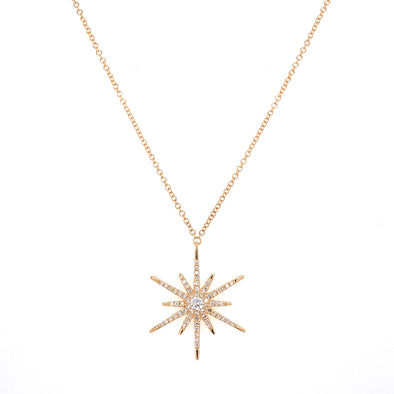 14K Yellow Gold Diamond Shinning Star Necklace