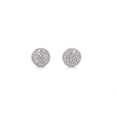 14K White Gold Diamond Large Domed Disc Stud Earrings