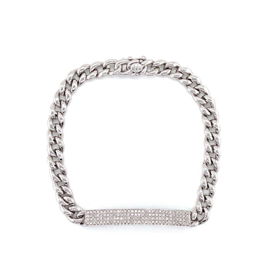 14K White Gold Diamond Plate Curb Link Bracelet