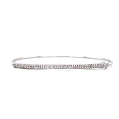 14K White Gold Diamond Double Row Pave Bar Bangle