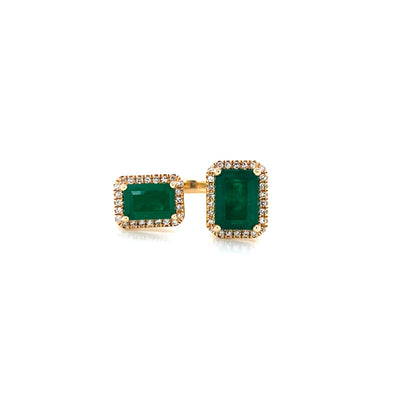 14K Yellow Gold Diamond + Emerald Double Cuff Ring
