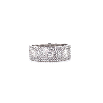 14K White Gold Round & Baguette Diamond Ring