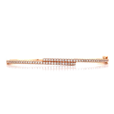 14K Rose Gold Diamond Bypass Bangle