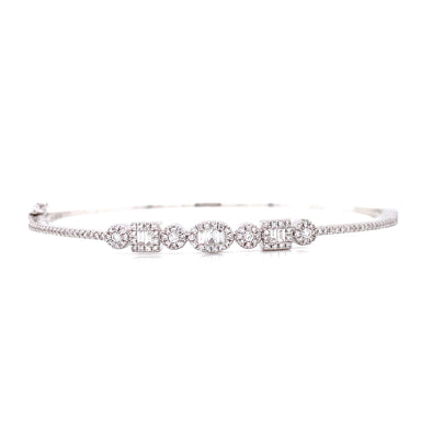 14K White Gold Round + Baguette Diamond Multi Shape Bangle
