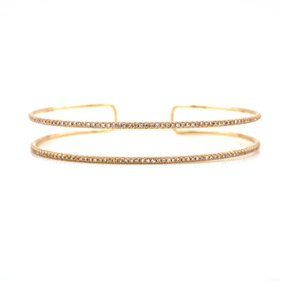 14K Yellow Gold Diamond Double Row Open Bangle